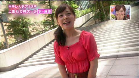【画像あり】水卜麻美アナのおっぱいが揺れて乳首透けwww