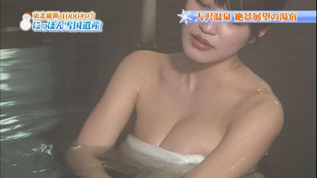 【※放送事故】テレ東の温泉番組で爆乳グラドルが乳頭晒す放送事故wwwwwwwwww(画像あり)