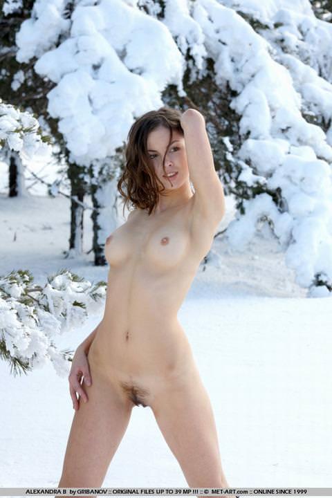 雪上の外国人ヌード 1