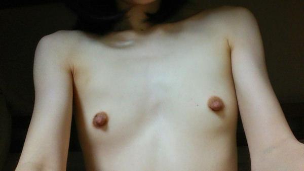 貧乳の勃起乳首 15