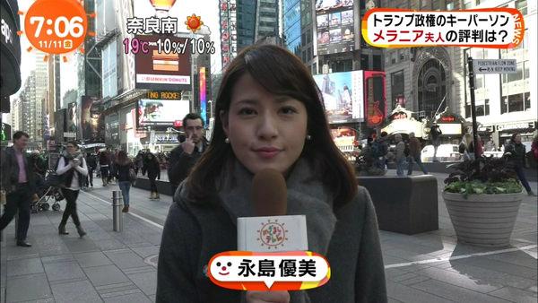 コート姿で街頭レポート中の永島優美
