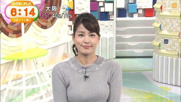 グレーのニットを着た永島優美