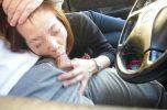 素人の車内フェラ画像!運転の疲れた彼をフェラで癒す彼女www