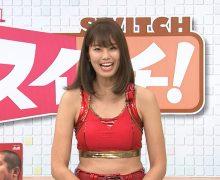 """稲村亜美、朝のニュース番組でエロ衣装で""""神スイング""""wwww"""