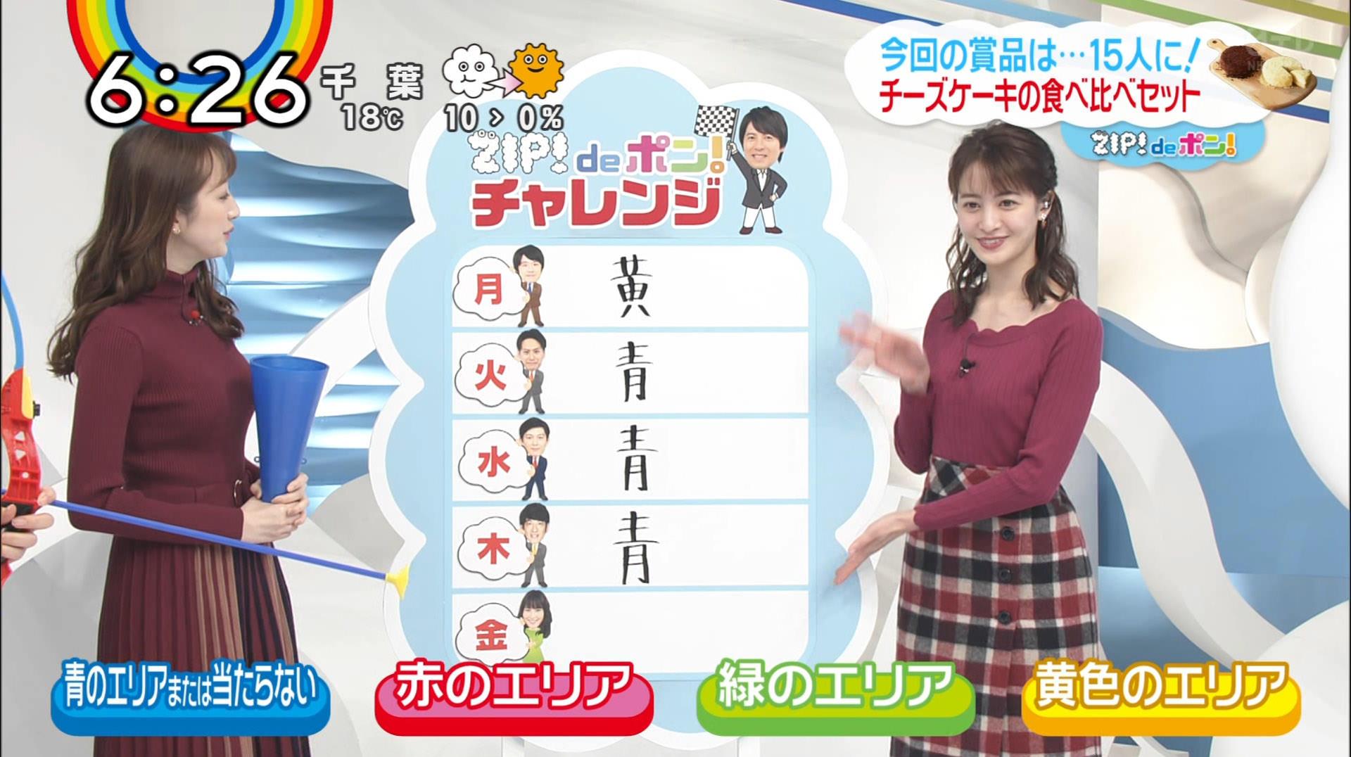 後呂有紗アナと團遥香キャスター 「ZIP☆」メンバーのニット乳☆