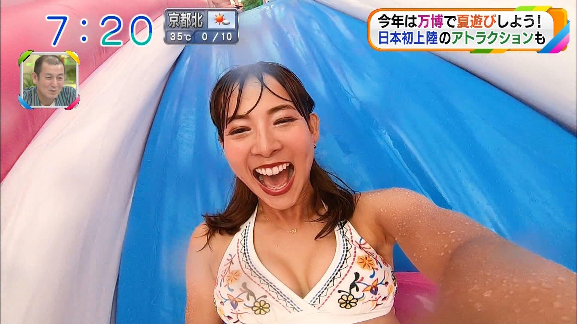 H画像案内 【朝日放送で人妻の阪本智子レポーターが寄せ上げ白水着でまんぐりハプニング】